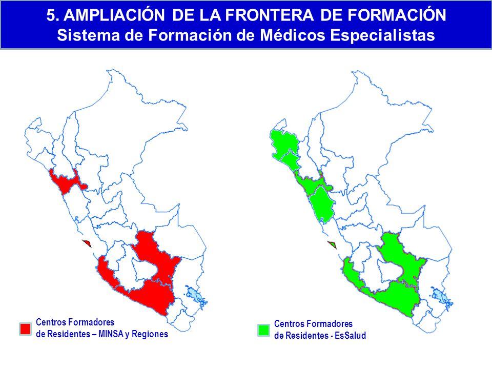 Centros Formadores de Residentes – MINSA y Regiones Centros Formadores de Residentes - EsSalud 5. AMPLIACIÓN DE LA FRONTERA DE FORMACIÓN Sistema de Fo