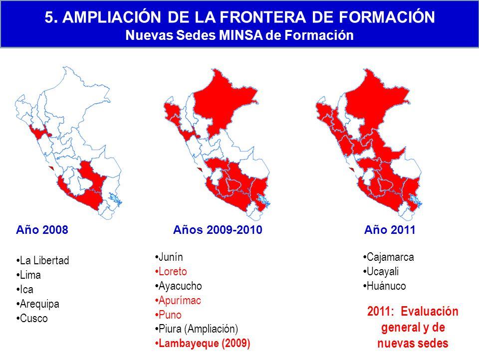Año 2008Años 2009-2010Año 2011 La Libertad Lima Ica Arequipa Cusco Junín Loreto Ayacucho Apurímac Puno Piura (Ampliación) Lambayeque (2009) Cajamarca