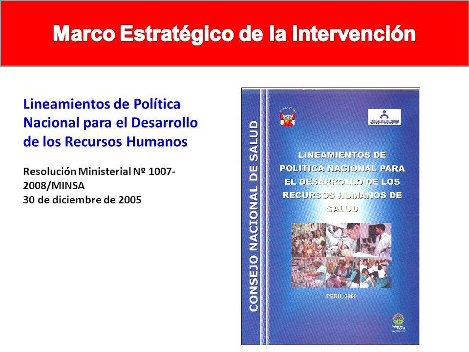 Lineamientos de Política Nacional para el Desarrollo de los Recursos Humanos Resolución Ministerial Nº 1007- 2008/MINSA 30 de diciembre de 2005