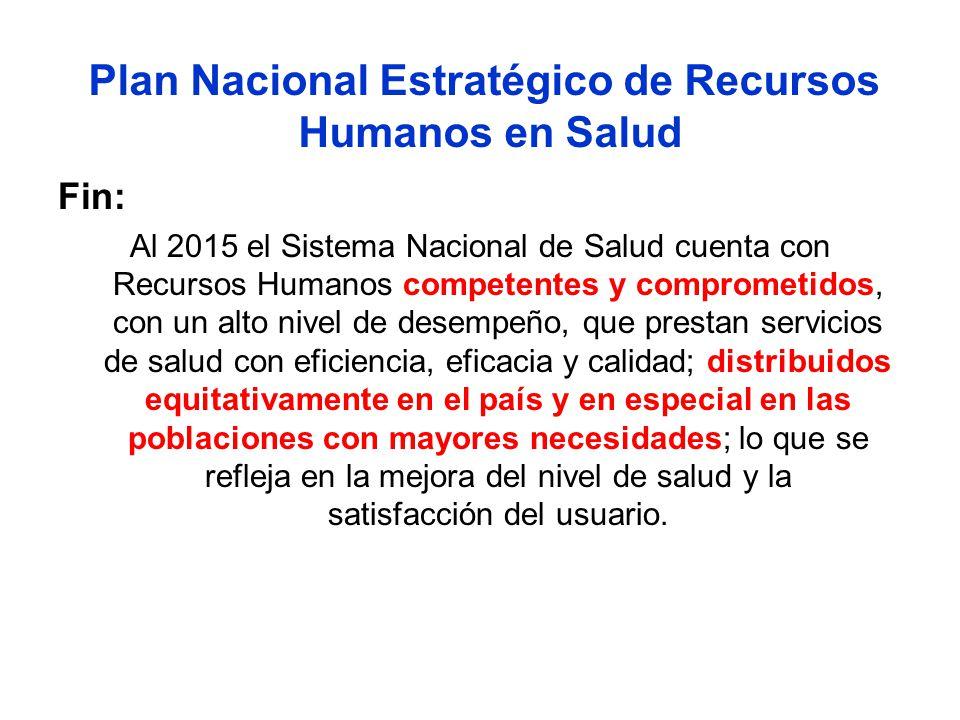 Plan Nacional Estratégico de Recursos Humanos en Salud Fin: Al 2015 el Sistema Nacional de Salud cuenta con Recursos Humanos competentes y comprometid