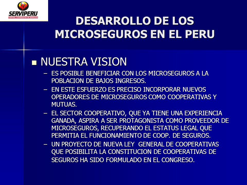 DESARROLLO DE LOS MICROSEGUROS EN EL PERU NUESTRA VISION NUESTRA VISION –ES POSIBLE BENEFICIAR CON LOS MICROSEGUROS A LA POBLACION DE BAJOS INGRESOS.