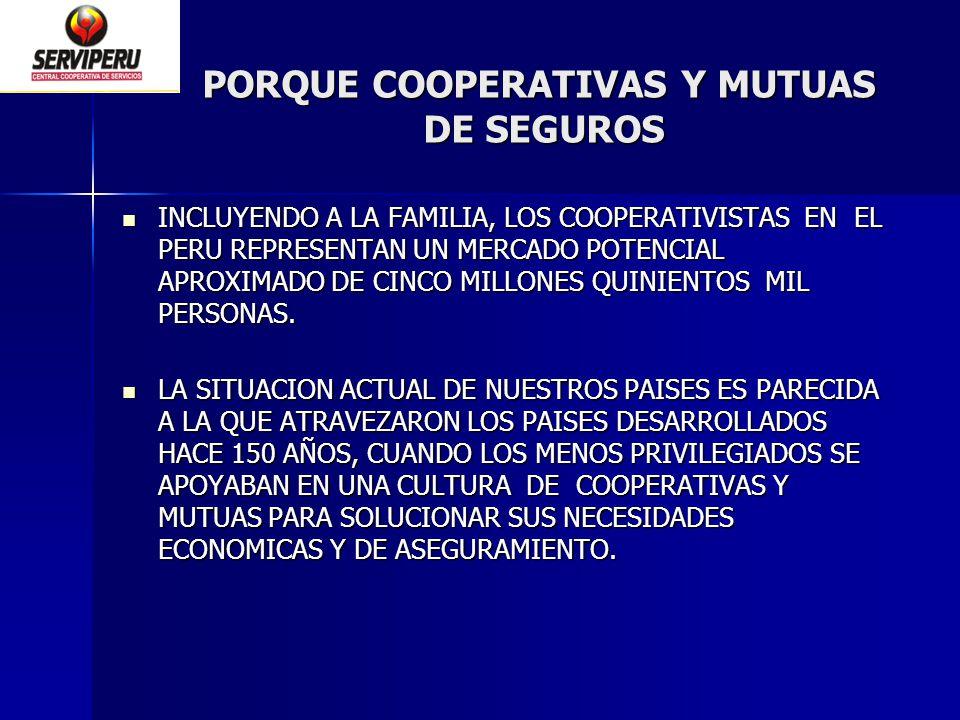 PORQUE COOPERATIVAS Y MUTUAS DE SEGUROS INCLUYENDO A LA FAMILIA, LOS COOPERATIVISTAS EN EL PERU REPRESENTAN UN MERCADO POTENCIAL APROXIMADO DE CINCO M