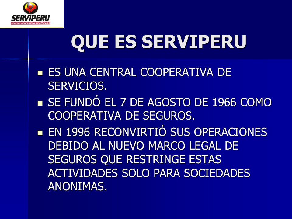QUE ES SERVIPERU ES UNA CENTRAL COOPERATIVA DE SERVICIOS. ES UNA CENTRAL COOPERATIVA DE SERVICIOS. SE FUNDÓ EL 7 DE AGOSTO DE 1966 COMO COOPERATIVA DE