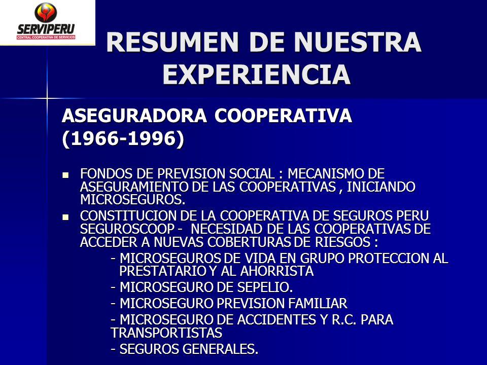 RESUMEN DE NUESTRA EXPERIENCIA RESUMEN DE NUESTRA EXPERIENCIA ASEGURADORA COOPERATIVA (1966-1996) FONDOS DE PREVISION SOCIAL : MECANISMO DE ASEGURAMIE