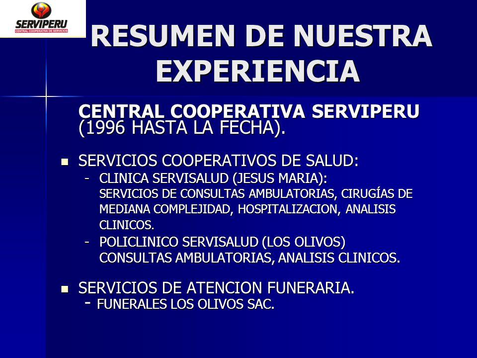 RESUMEN DE NUESTRA EXPERIENCIA RESUMEN DE NUESTRA EXPERIENCIA CENTRAL COOPERATIVA SERVIPERU (1996 HASTA LA FECHA). SERVICIOS COOPERATIVOS DE SALUD: SE