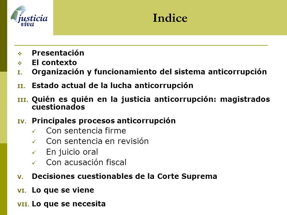 Indice Presentación El contexto I.Organización y funcionamiento del sistema anticorrupción II.