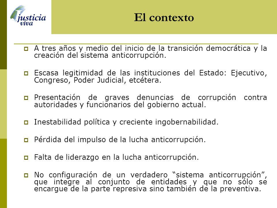 A tres años y medio del inicio de la transición democrática y la creación del sistema anticorrupción.