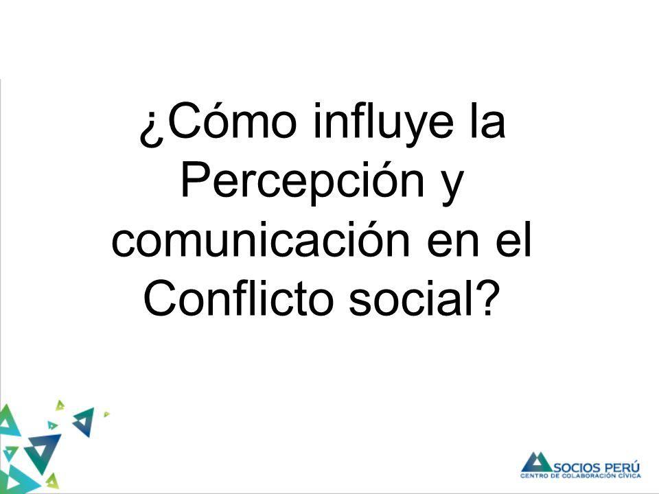 ¿Cómo influye la Percepción y comunicación en el Conflicto social?