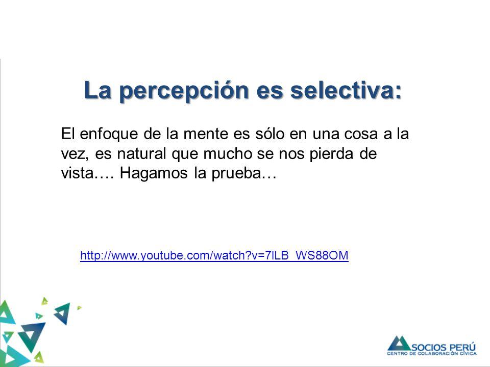 http://www.youtube.com/watch?v=7lLB_WS88OM La percepción es selectiva: El enfoque de la mente es sólo en una cosa a la vez, es natural que mucho se nos pierda de vista….