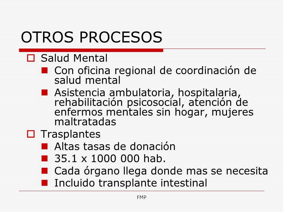 FMP OTROS PROCESOS Salud Mental Con oficina regional de coordinación de salud mental Asistencia ambulatoria, hospitalaria, rehabilitación psicosocial,