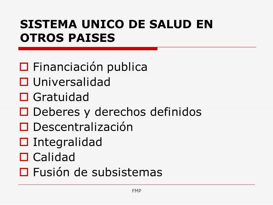 FMP SISTEMA UNICO DE SALUD EN OTROS PAISES Financiación publica Universalidad Gratuidad Deberes y derechos definidos Descentralización Integralidad Ca