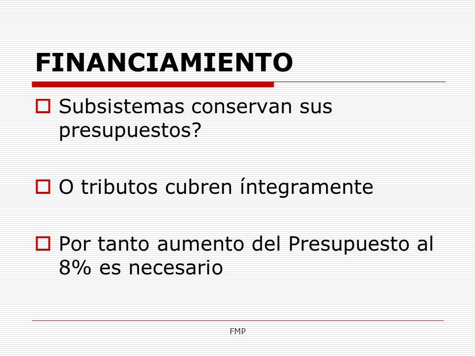 FMP FINANCIAMIENTO Subsistemas conservan sus presupuestos? O tributos cubren íntegramente Por tanto aumento del Presupuesto al 8% es necesario