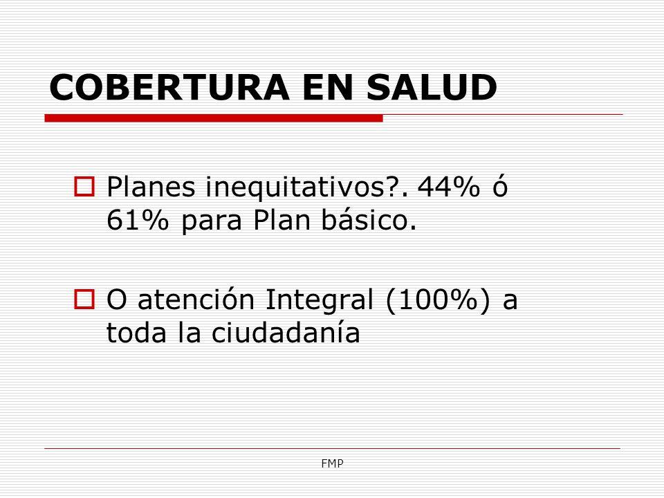 FMP COBERTURA EN SALUD Planes inequitativos?. 44% ó 61% para Plan básico. O atención Integral (100%) a toda la ciudadanía