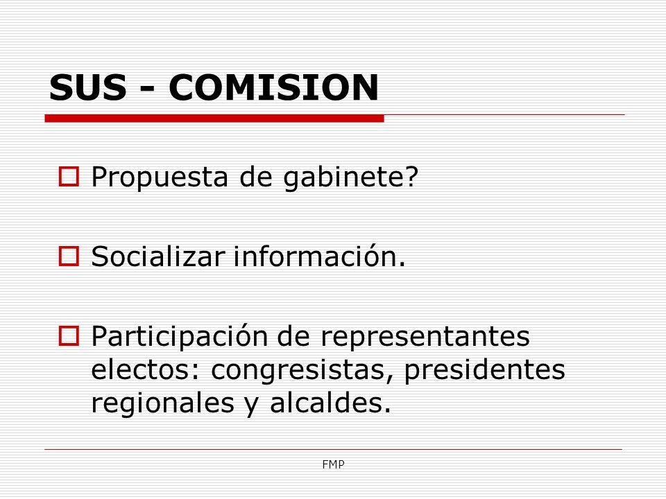 FMP SUS - COMISION Propuesta de gabinete? Socializar información. Participación de representantes electos: congresistas, presidentes regionales y alca