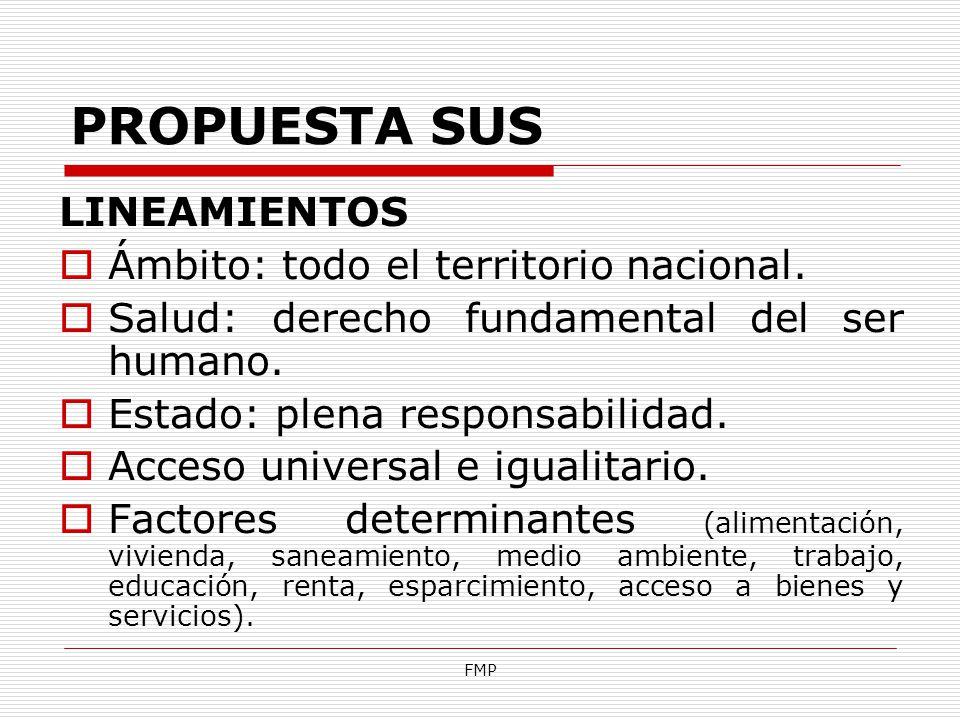 FMP PROPUESTA SUS LINEAMIENTOS Ámbito: todo el territorio nacional. Salud: derecho fundamental del ser humano. Estado: plena responsabilidad. Acceso u