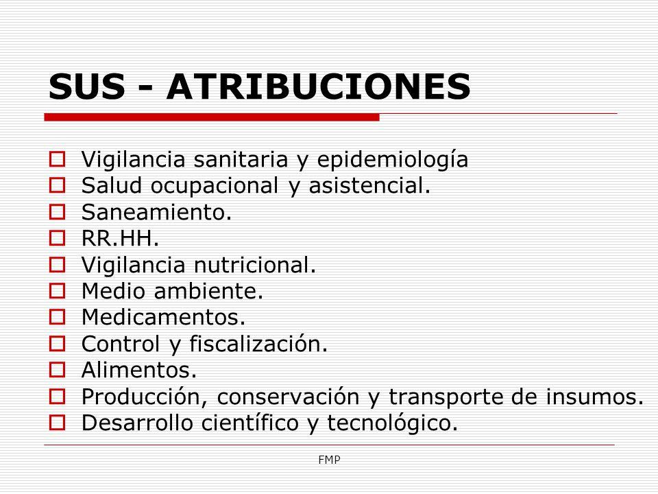 FMP SUS - ATRIBUCIONES Vigilancia sanitaria y epidemiología Salud ocupacional y asistencial. Saneamiento. RR.HH. Vigilancia nutricional. Medio ambient