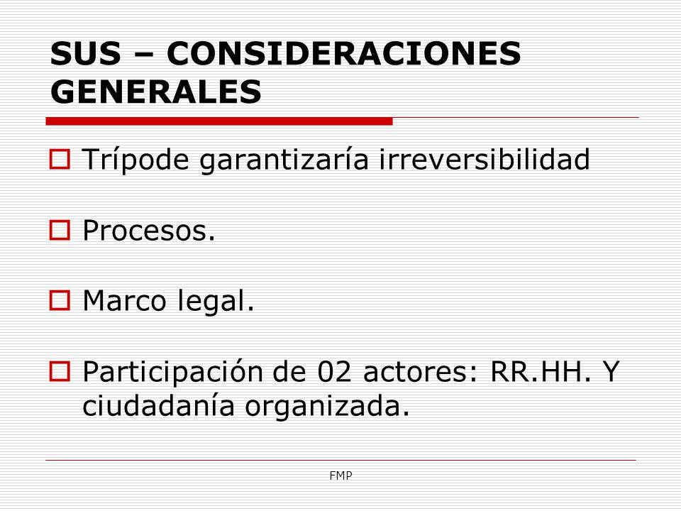 FMP SUS – CONSIDERACIONES GENERALES Trípode garantizaría irreversibilidad Procesos. Marco legal. Participación de 02 actores: RR.HH. Y ciudadanía orga