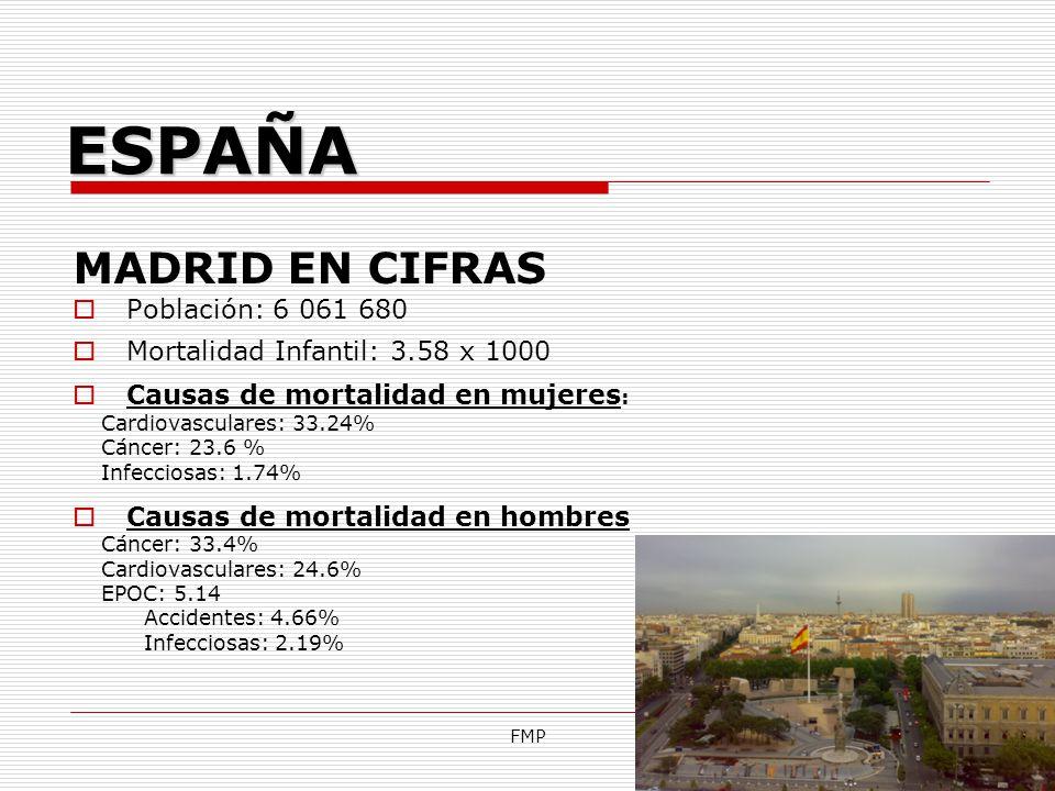 FMP MADRID EN CIFRAS Población: 6 061 680 Mortalidad Infantil: 3.58 x 1000 Causas de mortalidad en mujeres : Cardiovasculares: 33.24% Cáncer: 23.6 % I