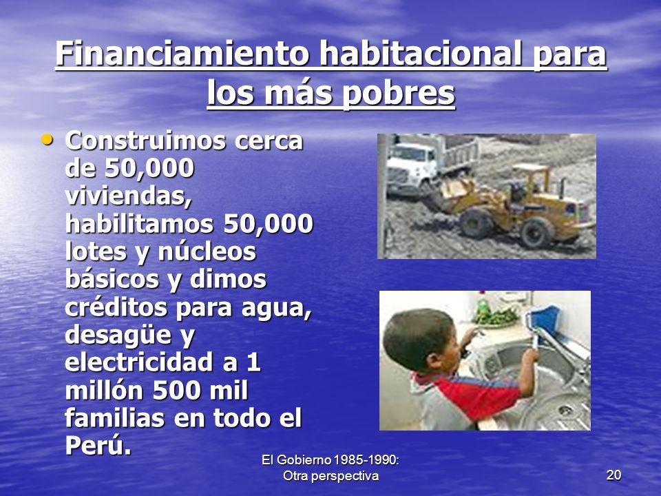 El Gobierno 1985-1990: Otra perspectiva20 Financiamiento habitacional para los más pobres Construimos cerca de 50,000 viviendas, habilitamos 50,000 lo