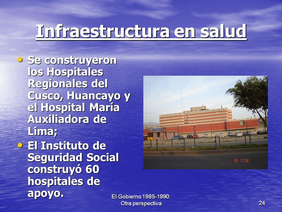 El Gobierno 1985-1990: Otra perspectiva24 Infraestructura en salud Se construyeron los Hospitales Regionales del Cusco, Huancayo y el Hospital María A