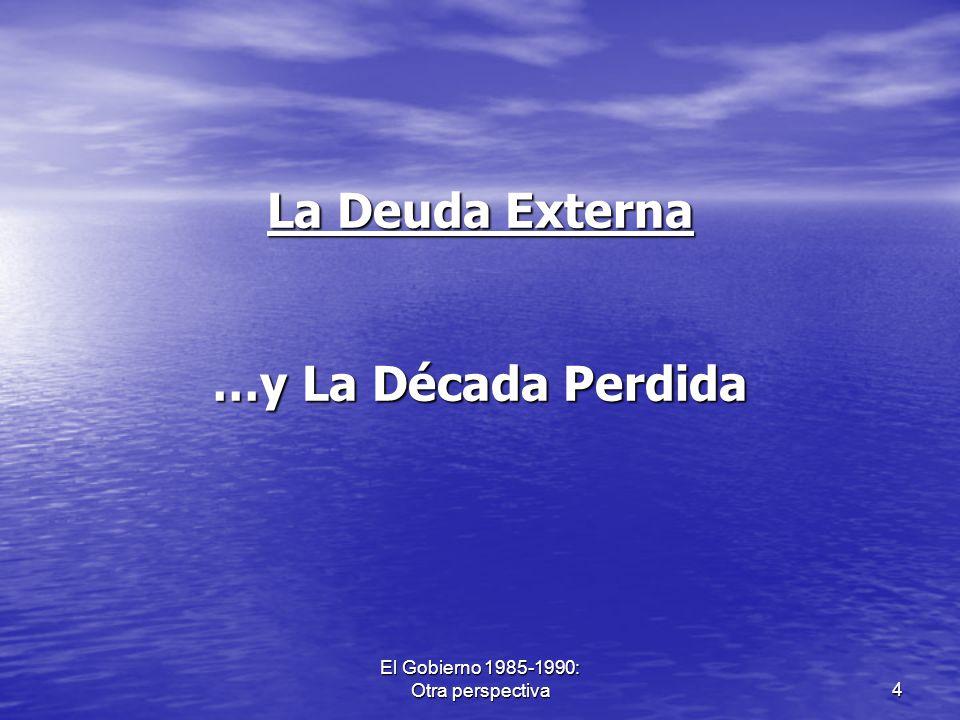 El Gobierno 1985-1990: Otra perspectiva5 ¿Qué sucedió en la década del ochenta en América Latina.