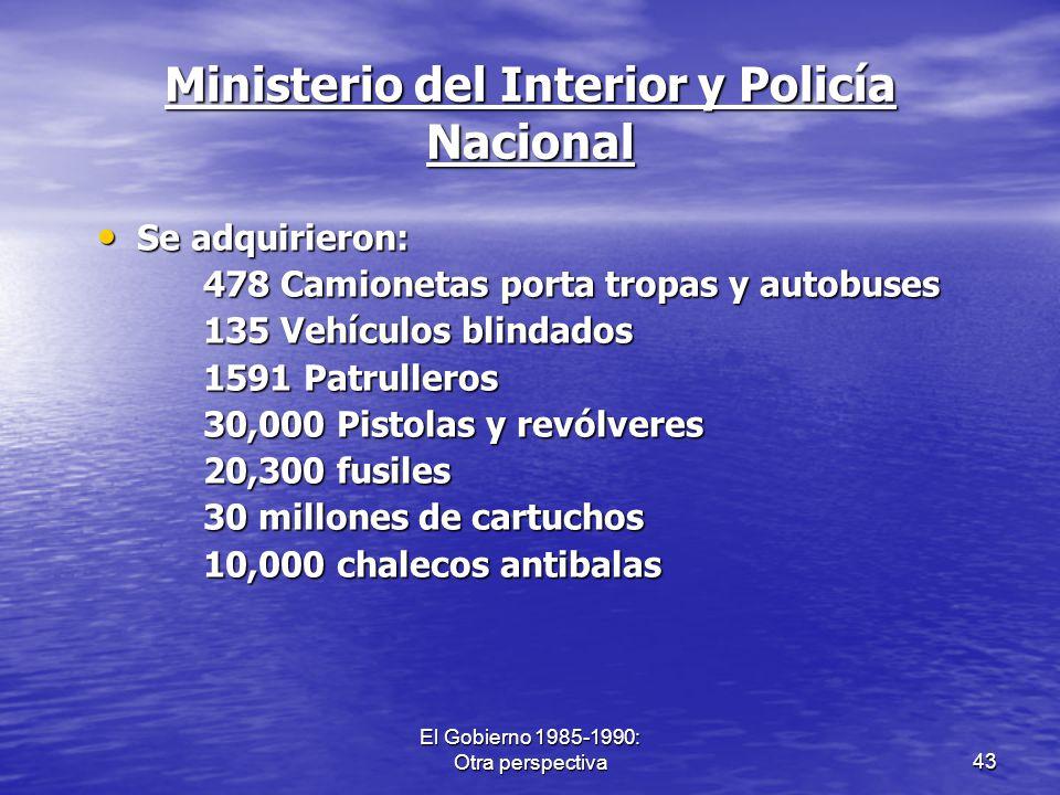 El Gobierno 1985-1990: Otra perspectiva43 Ministerio del Interior y Policía Nacional Se adquirieron: Se adquirieron: 478 Camionetas porta tropas y aut