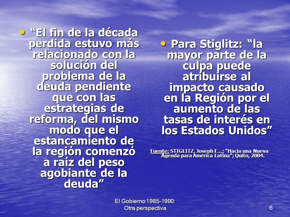 El Gobierno 1985-1990: Otra perspectiva27 El trabajo por los niños del Perú La Fundación por los Niños del Perú, bajo la conducción de la Sra.