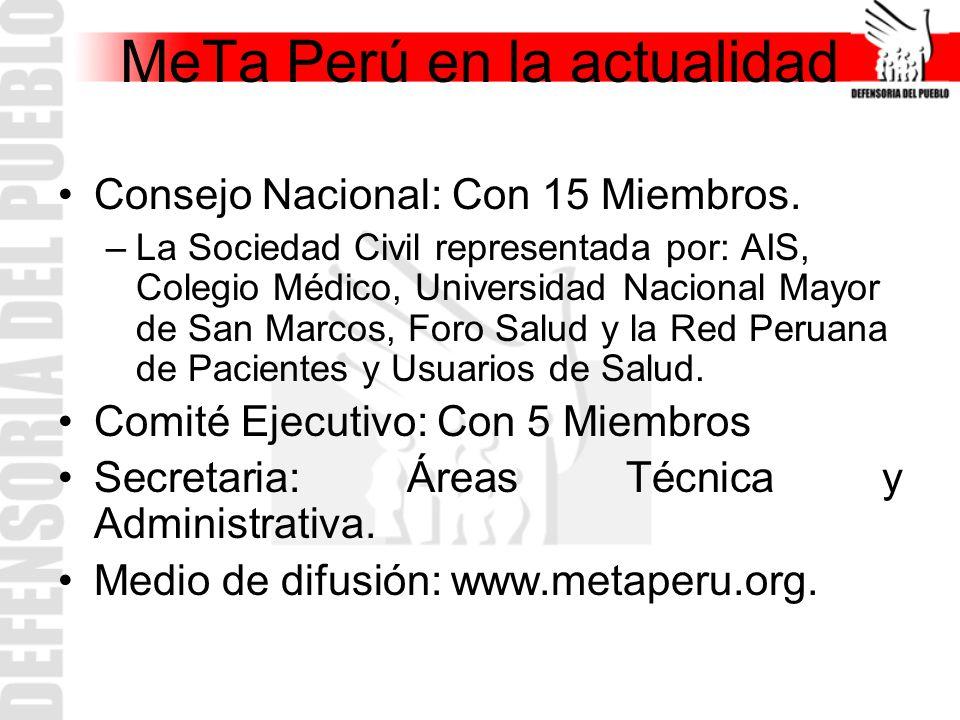 MeTa Perú en la actualidad Consejo Nacional: Con 15 Miembros. –La Sociedad Civil representada por: AIS, Colegio Médico, Universidad Nacional Mayor de