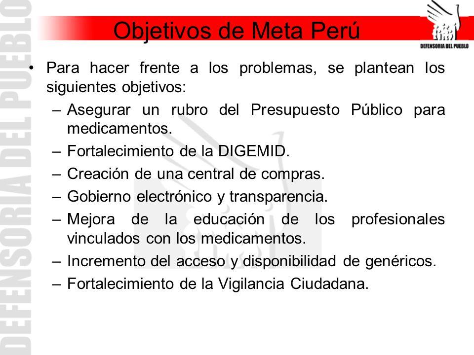 Objetivos de Meta Perú Para hacer frente a los problemas, se plantean los siguientes objetivos: –Asegurar un rubro del Presupuesto Público para medica