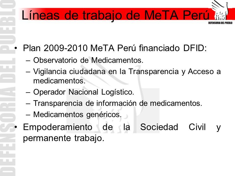 Líneas de trabajo de MeTA Perú Plan 2009-2010 MeTA Perú financiado DFID: –Observatorio de Medicamentos. –Vigilancia ciudadana en la Transparencia y Ac