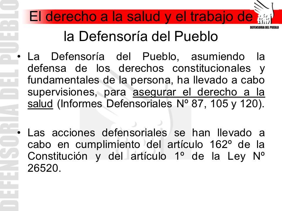 El derecho a la salud y el trabajo de la Defensoría del Pueblo La Defensoría del Pueblo, asumiendo la defensa de los derechos constitucionales y funda