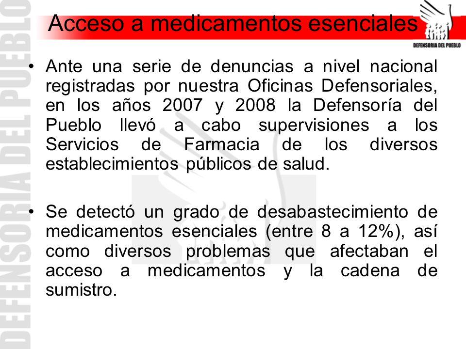 Acceso a medicamentos esenciales Ante una serie de denuncias a nivel nacional registradas por nuestra Oficinas Defensoriales, en los años 2007 y 2008
