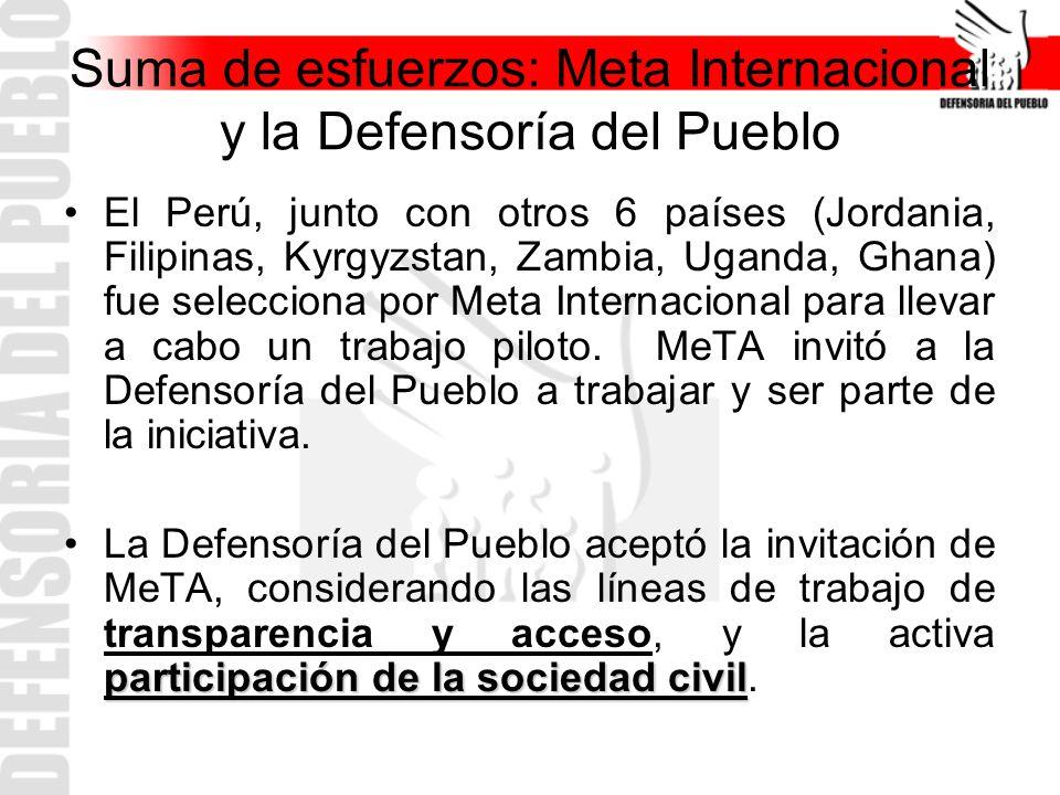 Suma de esfuerzos: Meta Internacional y la Defensoría del Pueblo El Perú, junto con otros 6 países (Jordania, Filipinas, Kyrgyzstan, Zambia, Uganda, G