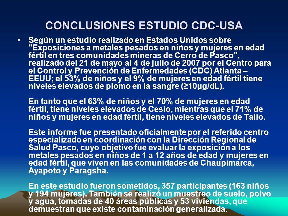 CONCLUSIONES ESTUDIO CDC-USA Según un estudio realizado en Estados Unidos sobre