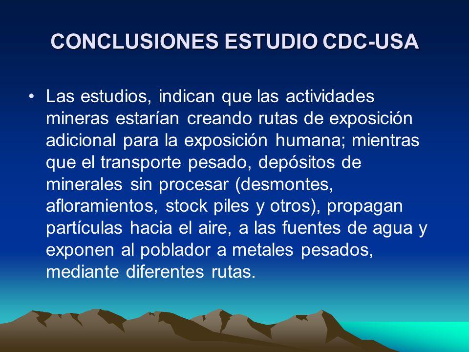 CONCLUSIONES ESTUDIO CDC-USA Las estudios, indican que las actividades mineras estarían creando rutas de exposición adicional para la exposición human