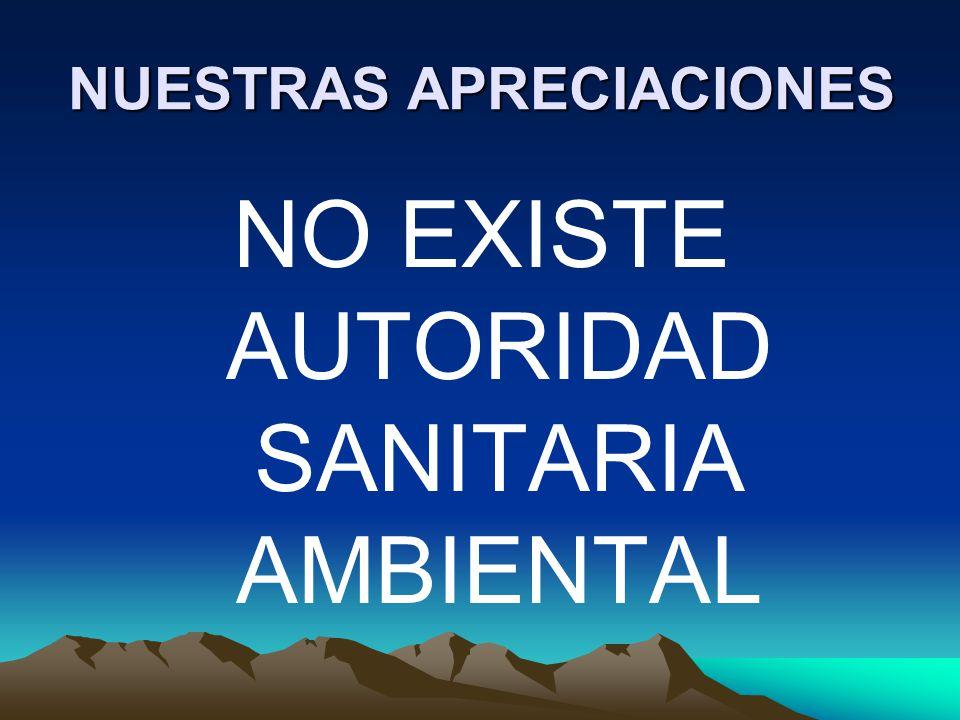 NUESTRAS APRECIACIONES NO EXISTE AUTORIDAD SANITARIA AMBIENTAL