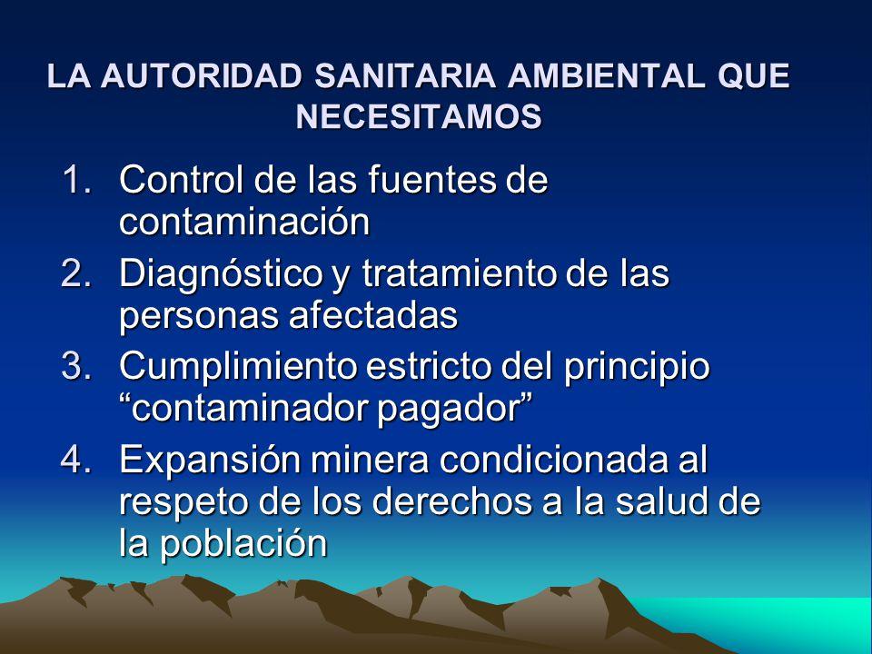 LA AUTORIDAD SANITARIA AMBIENTAL QUE NECESITAMOS 1.Control de las fuentes de contaminación 2.Diagnóstico y tratamiento de las personas afectadas 3.Cum