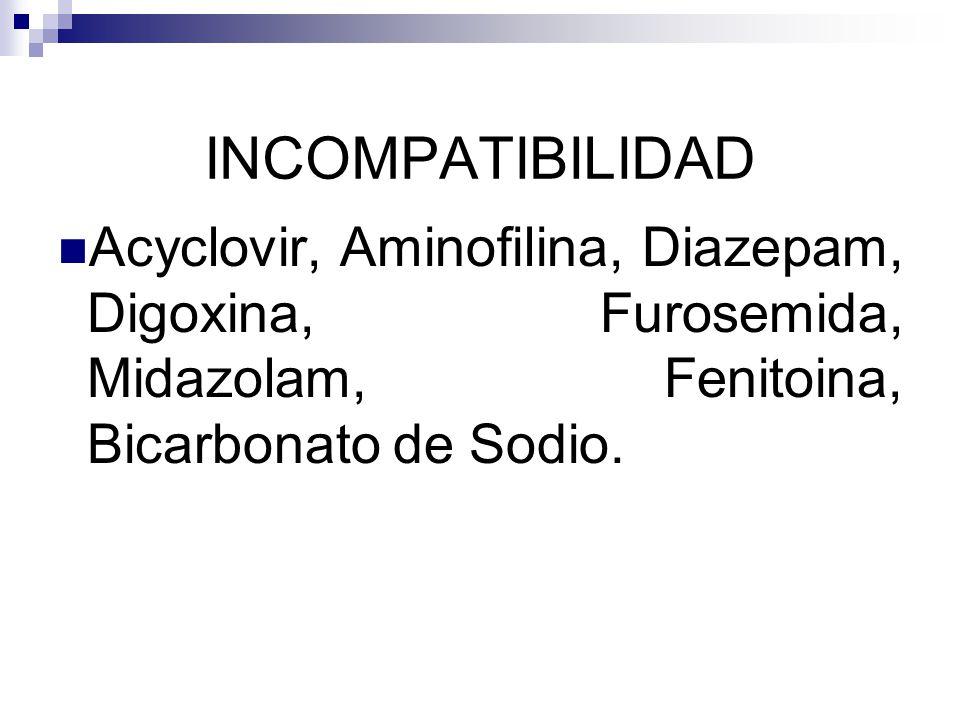 INCOMPATIBILIDAD Acyclovir, Aminofilina, Diazepam, Digoxina, Furosemida, Midazolam, Fenitoina, Bicarbonato de Sodio.