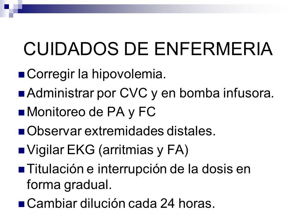 CUIDADOS DE ENFERMERIA Corregir la hipovolemia. Administrar por CVC y en bomba infusora. Monitoreo de PA y FC Observar extremidades distales. Vigilar