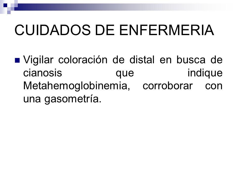 CUIDADOS DE ENFERMERIA Vigilar coloración de distal en busca de cianosis que indique Metahemoglobinemia, corroborar con una gasometría.
