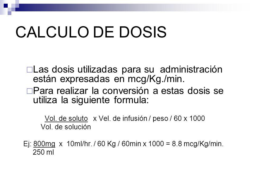 CALCULO DE DOSIS Las dosis utilizadas para su administración están expresadas en mcg/Kg./min. Para realizar la conversión a estas dosis se utiliza la