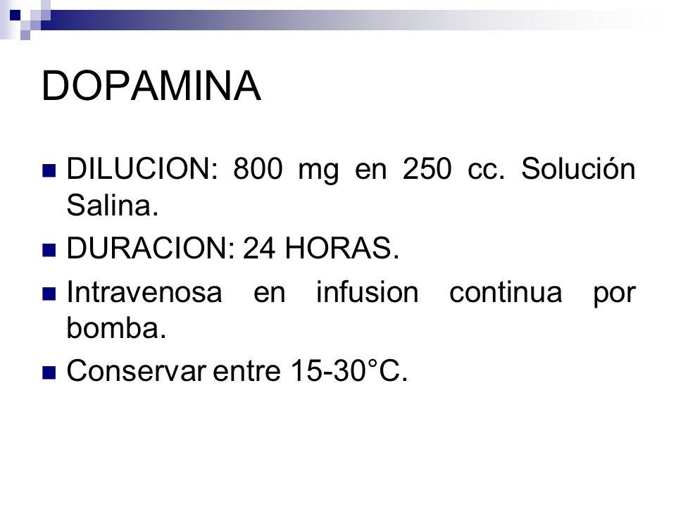 DOPAMINA DILUCION: 800 mg en 250 cc.Solución Salina.