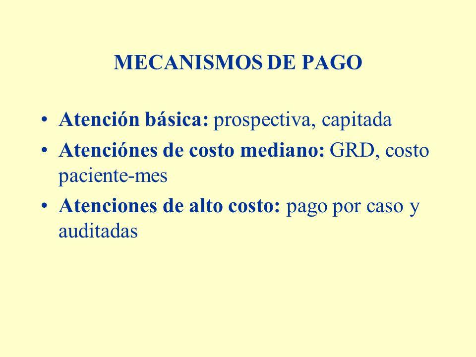 MECANISMOS DE PAGO Atención básica: prospectiva, capitada Atenciónes de costo mediano: GRD, costo paciente-mes Atenciones de alto costo: pago por caso y auditadas