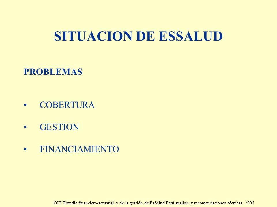 SITUACION DE ESSALUD PROBLEMAS COBERTURA GESTION FINANCIAMIENTO OIT. Estudio financiero-actuarial y de la gestión de EsSalud Perú:analisis y recomenda