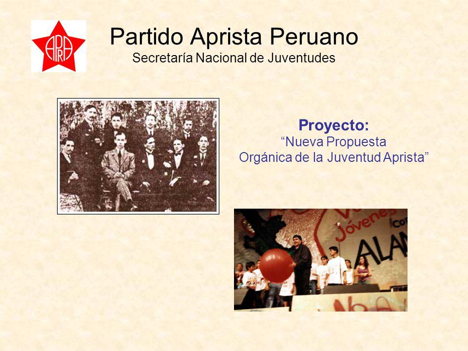 Partido Aprista Peruano Secretaría Nacional de Juventudes Proyecto: Nueva Propuesta Orgánica de la Juventud Aprista
