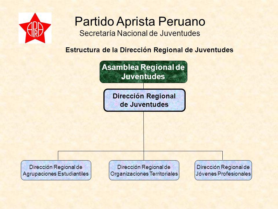 Partido Aprista Peruano Secretaría Nacional de Juventudes Dirección Regional de Juventudes Dirección Regional de Agrupaciones Estudiantiles Dirección Regional de Organizaciones Territoriales Dirección Regional de Jóvenes Profesionales Estructura de la Dirección Regional de Juventudes Asamblea Regional de Juventudes