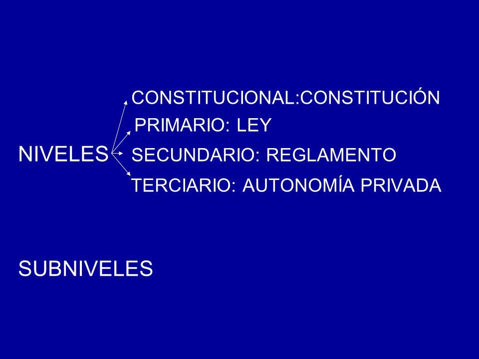 CONSTITUCIONAL:CONSTITUCIÓN PRIMARIO: LEY NIVELES SECUNDARIO: REGLAMENTO TERCIARIO: AUTONOMÍA PRIVADA SUBNIVELES