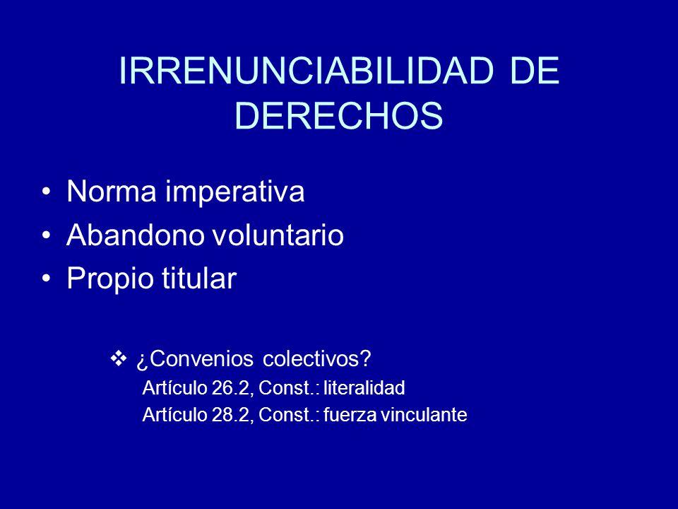 IRRENUNCIABILIDAD DE DERECHOS Norma imperativa Abandono voluntario Propio titular ¿Convenios colectivos.
