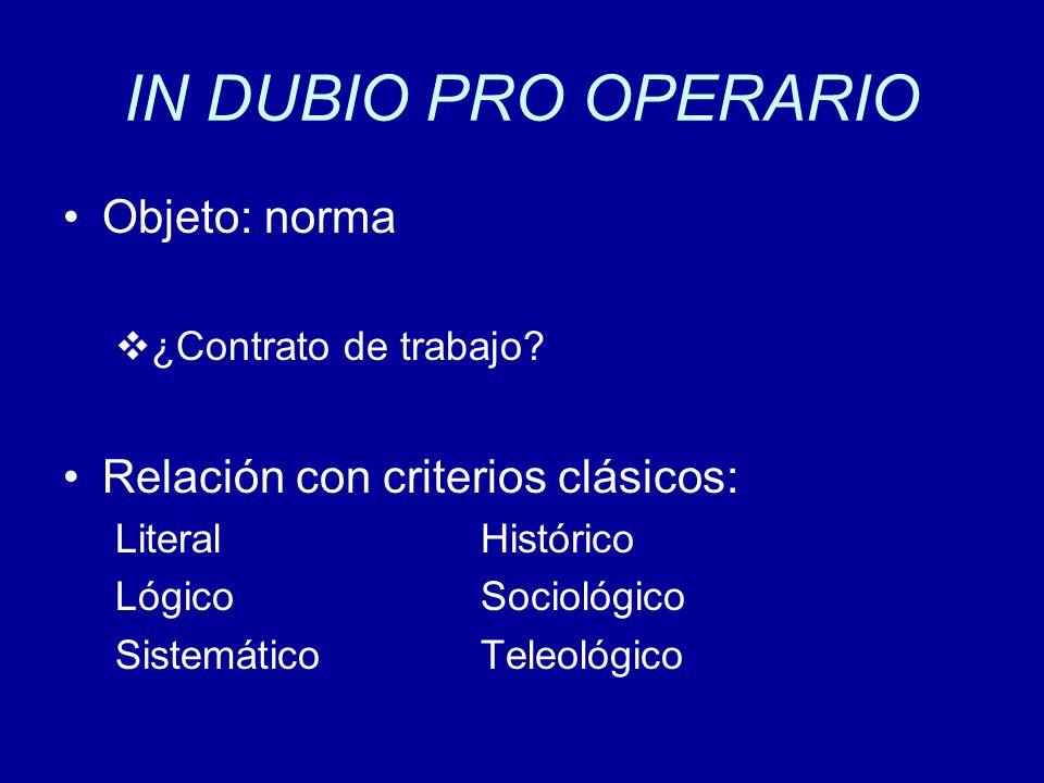 IN DUBIO PRO OPERARIO Objeto: norma ¿Contrato de trabajo.