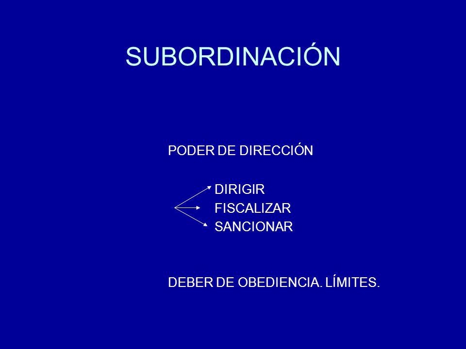 SUBORDINACIÓN PODER DE DIRECCIÓN DIRIGIR FISCALIZAR SANCIONAR DEBER DE OBEDIENCIA. LÍMITES.